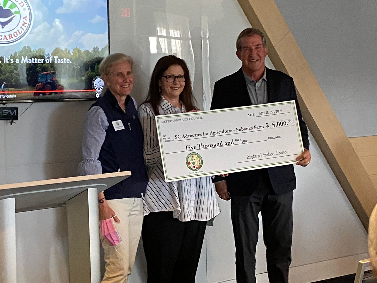 EPC's Susan McAleavey Sarlund and Marianne Santo presented Hugh Weathers of SCDA with a $5,000 check for the SC Advocates for Agriculture - Eubanks Farm.