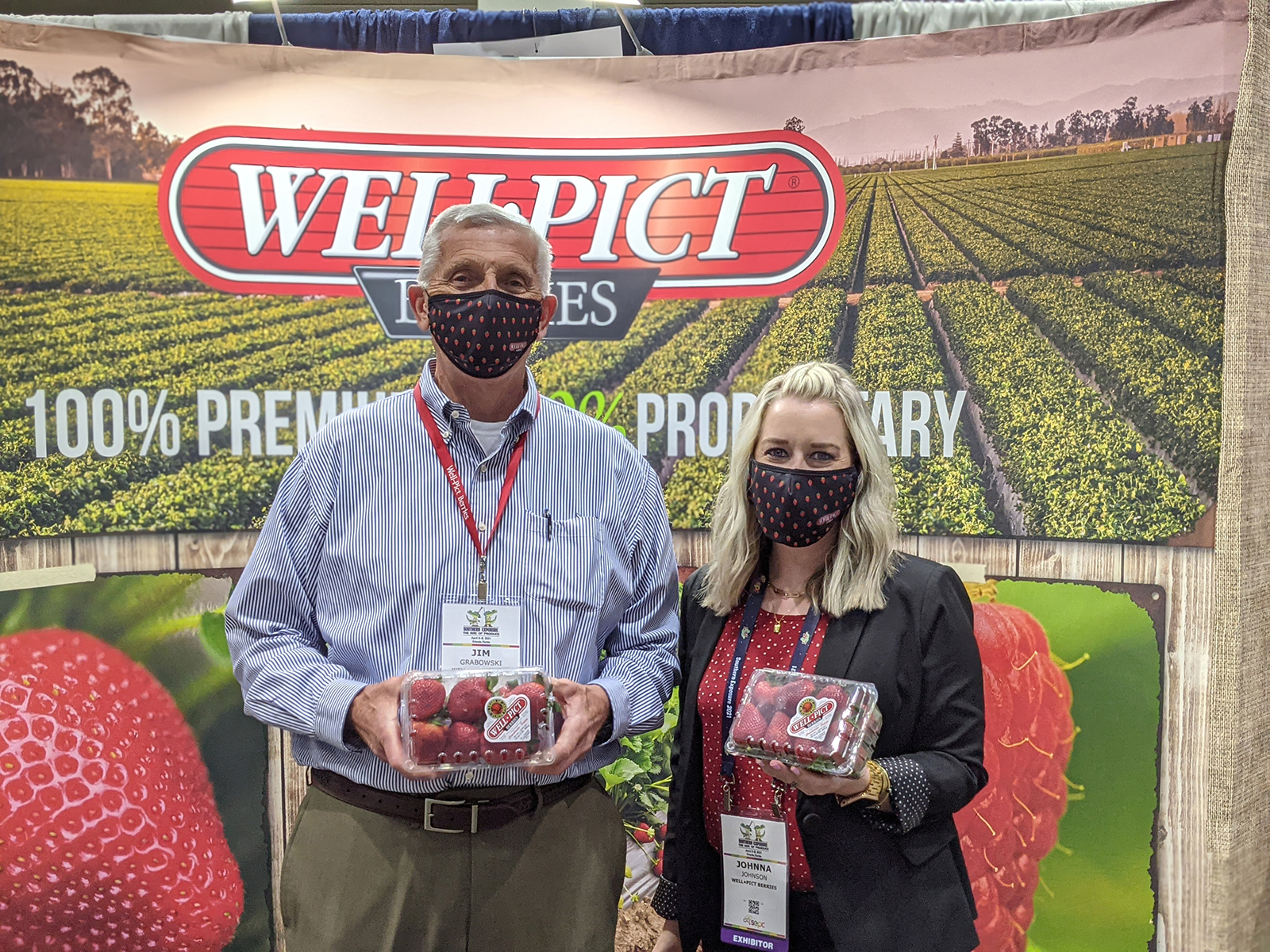 Jim Grabowski and Johnna Johnson with Well Pict Berries.