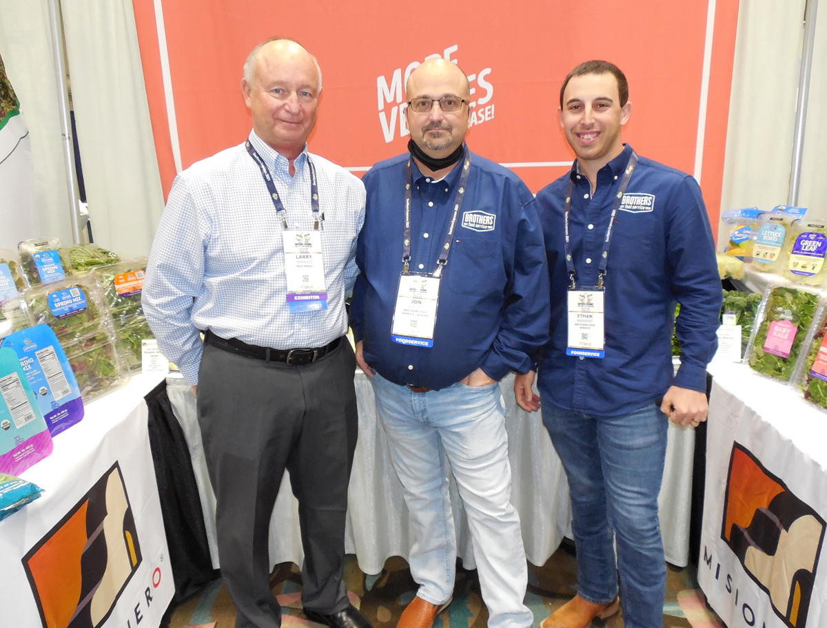 Larry Narwold of of Misionero with Jon Gollott and Ethan Erenwert of Brothers Food Service.