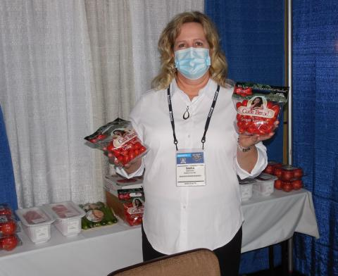 Sara Armstrong of Bozzuto's at the Northeast Produce booth.